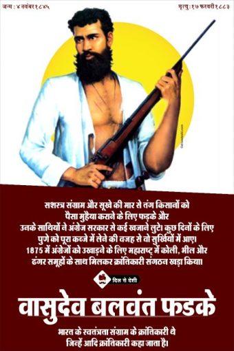 Vasudev Balwant Phadke Wall Poster