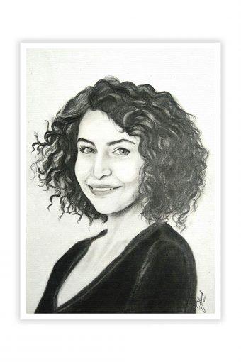 Anushka Sharma Pencil Sketch Poster Print
