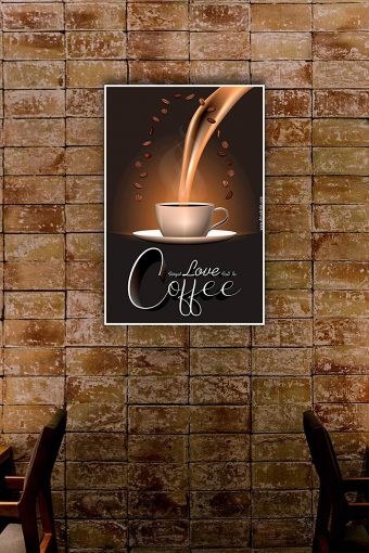Forget Love Fall in Coffee Wall Poster mockup