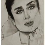 Kareena Kapoor Pencil Sketch Print Wall Poster