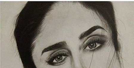 Kareena Kapoor Pencil Sketch Print Wall Poster eyes