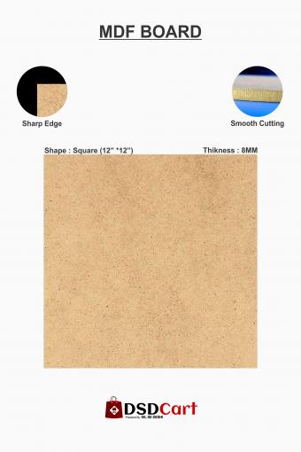 MDF Wood Square Shape Art Board [12 x 12 Inch]