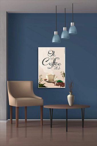 Ok But Coffee First Wall Poster mockup